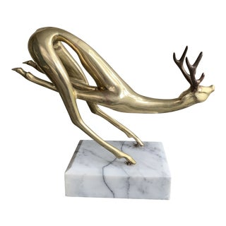1970s Brass Deer on Marble Base For Sale