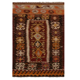 "Vintage Fetiye Crimson Wool Kilim Rug-3'1'x4'6"" For Sale"