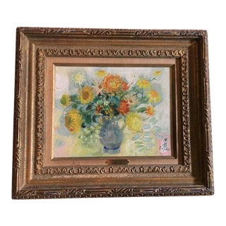 "Le Pho ""Flowers in a Blue Vase"" Oil on Canvas Painting"