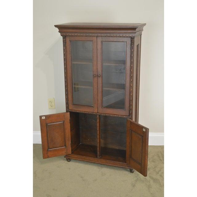 Antique Miniature Victorian Oak 2 Door Bookcase Cabinet For Sale In Philadelphia - Image 6 of 13