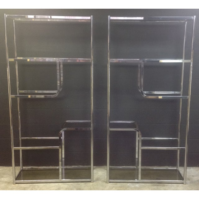 Chrome And Smoked Glass Etagere - Pair - Image 2 of 7