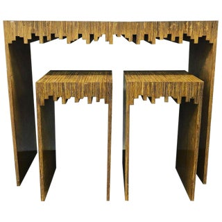 Mid-Century Modern Console Table with 2 Stools - 3 Pieces For Sale