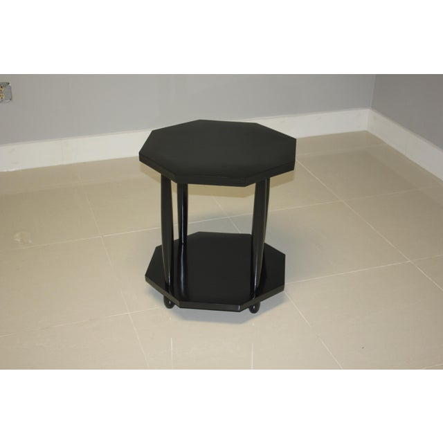 Black 1940s French Art Deco Black Ebonized Coffee/Side Table For Sale - Image 8 of 13