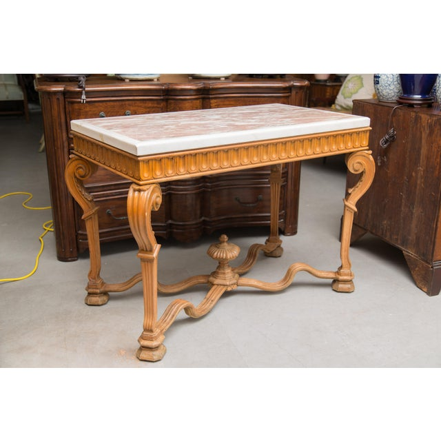 Italian Beechwood Console / Center Table With Marble Top For Sale - Image 4 of 13