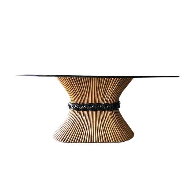 Large McGuire Rattan Trompe L' Oeil Tole Pedestal Dining Table or Center Table With Oval Glass Top 1950's For Sale