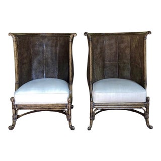 Modern Maitland Smith High Back Double Cane Occasional Chairs- A Pair For Sale