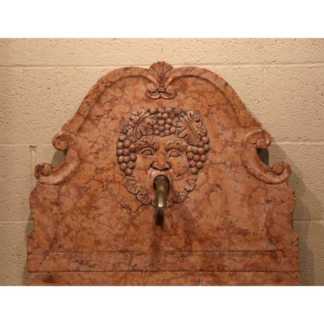 Early 21st Century Italian Carved Marble Three-Piece Wall Fountain With Bacchus and Vine Decor For Sale - Image 5 of 8