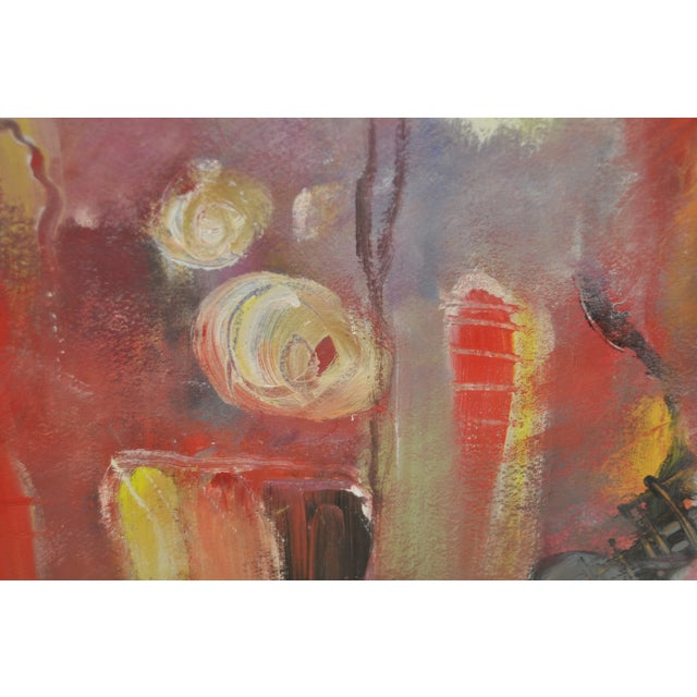 Contemporary Framed Abstract Oil on Paper - Image 7 of 8