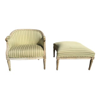 Antique French Bergere & Ottoman For Sale