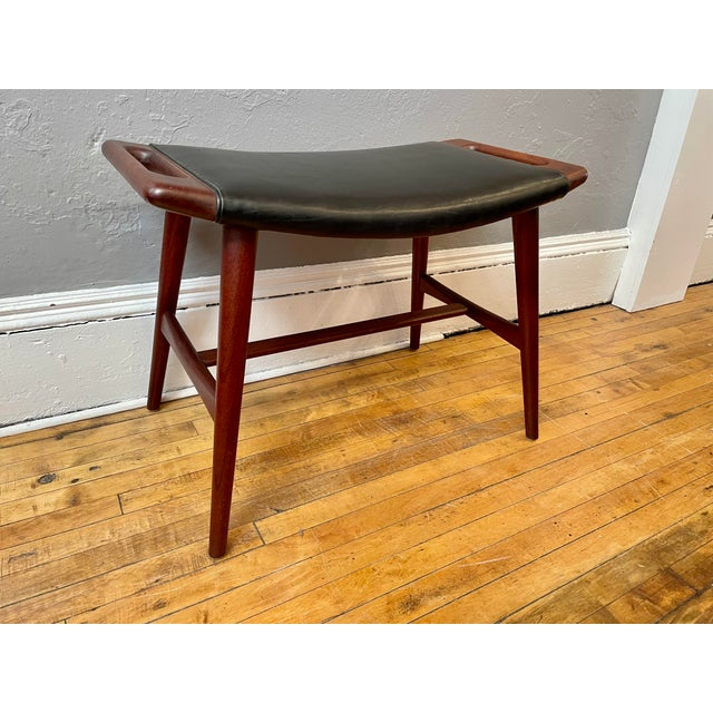 1950s Hans Wegner Piano Stool in Teak and Black Leather For Sale - Image 10 of 10
