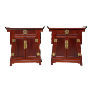1980s Chinoiserie Carved Wood Pagoda Sidetables - a Pair