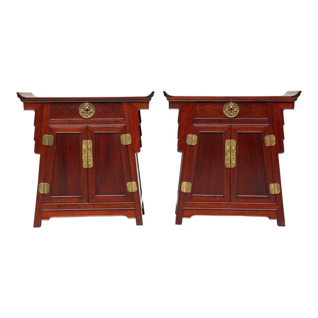 1980s Chinoiserie Carved Wood Pagoda Sidetables - a Pair For Sale