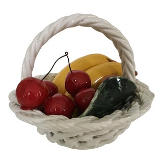 Vintage White Ceramic Trompe l'Oeil Basket of Fruit For Sale