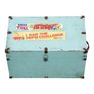 Vintage Wood Trunk With Retro Bumper Stickers For Sale