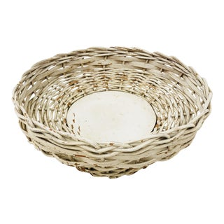 Antique Woven Wicker Bowl For Sale
