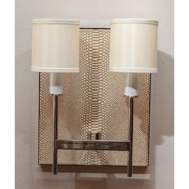 Paul Marra Customizable Paul Marra Python Backed Two-Arm Sconce For Sale - Image 4 of 6
