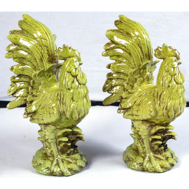 Italian Pair of Ceramic Cockerels, Bassano, Italy, Mid-20th Century For Sale - Image 3 of 10