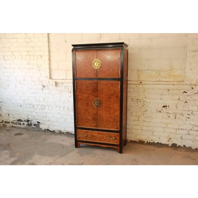 Century Furniture Black Lacquer & Burlwood Armoire - Image 4 of 11
