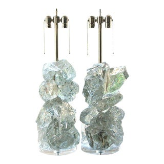 "Glass Cluster ""Rock Candy"" Table Lamps Ice Cubes For Sale"