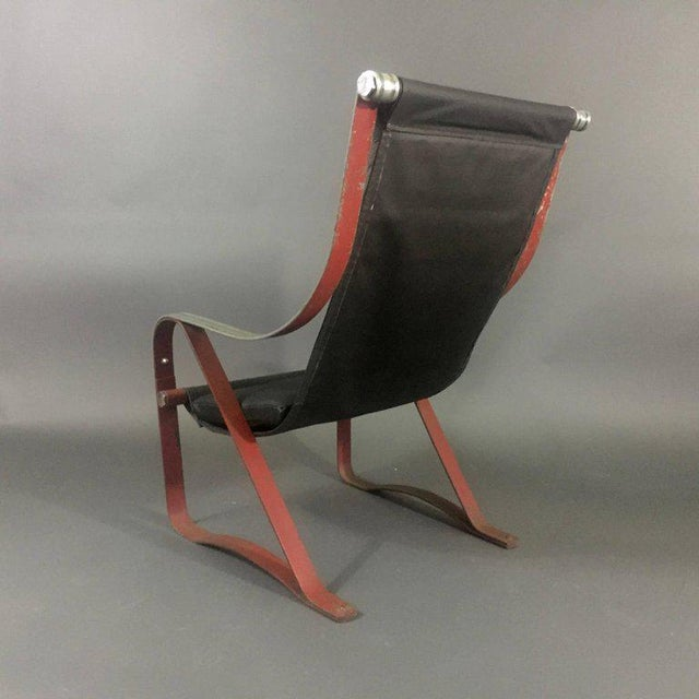Art Deco 1930s McKay Craft Leather and Steel Sling Chair For Sale - Image 3 of 8