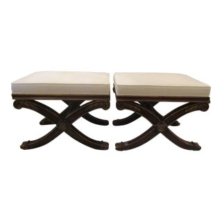 Ethan Allen French Regency X Footstools - A Pair