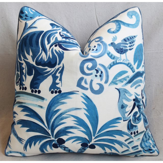 "P. Kaufmann Blue & White Animal Feather/Down Pillow 21"" Square For Sale - Image 4 of 9"