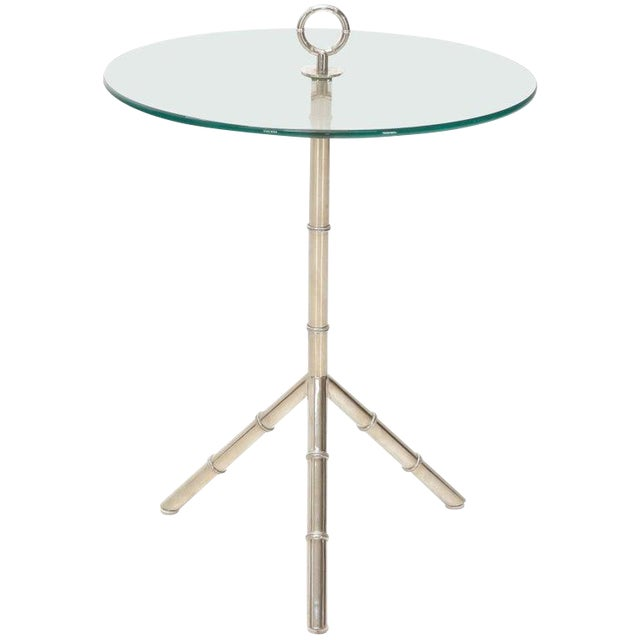 Circular Glass Top Heavy Solid Nickel-Plated Accent Side Center Occasional Table For Sale