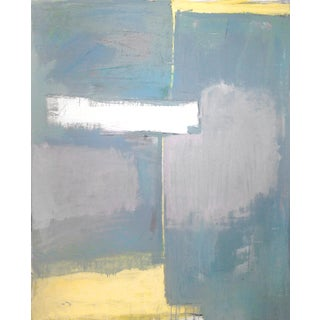 Contemporary Soft Abstract Blue, Grey & Yellow Painting For Sale