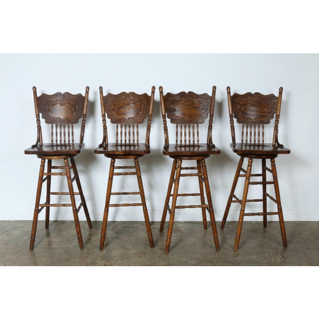 Country Style Solid Oak Bar Stools - Set of 4 - Image 2 of 9