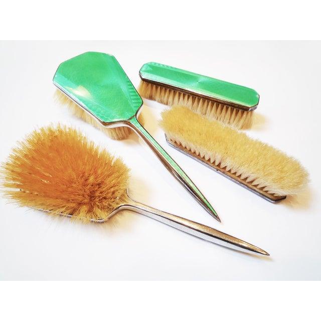 Art Deco Green Enamel Vanity Brushes - Set of 4 - Image 2 of 5