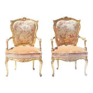 19th C French Aubusson Giltwood Armchairs - a Pair For Sale