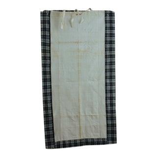 Antique Pillow Cover Kelsch Plaid Homepun Fabric Linen Heavy C1850 Indigo Blue For Sale