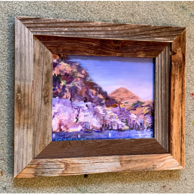 """Impressionist """"Lake Mead Nevada"""" Contemporary Landscape Oil Painting, Framed For Sale - Image 3 of 7"""
