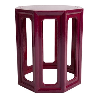 1970s Contemporary Painted Wood Octagonal Side Table For Sale
