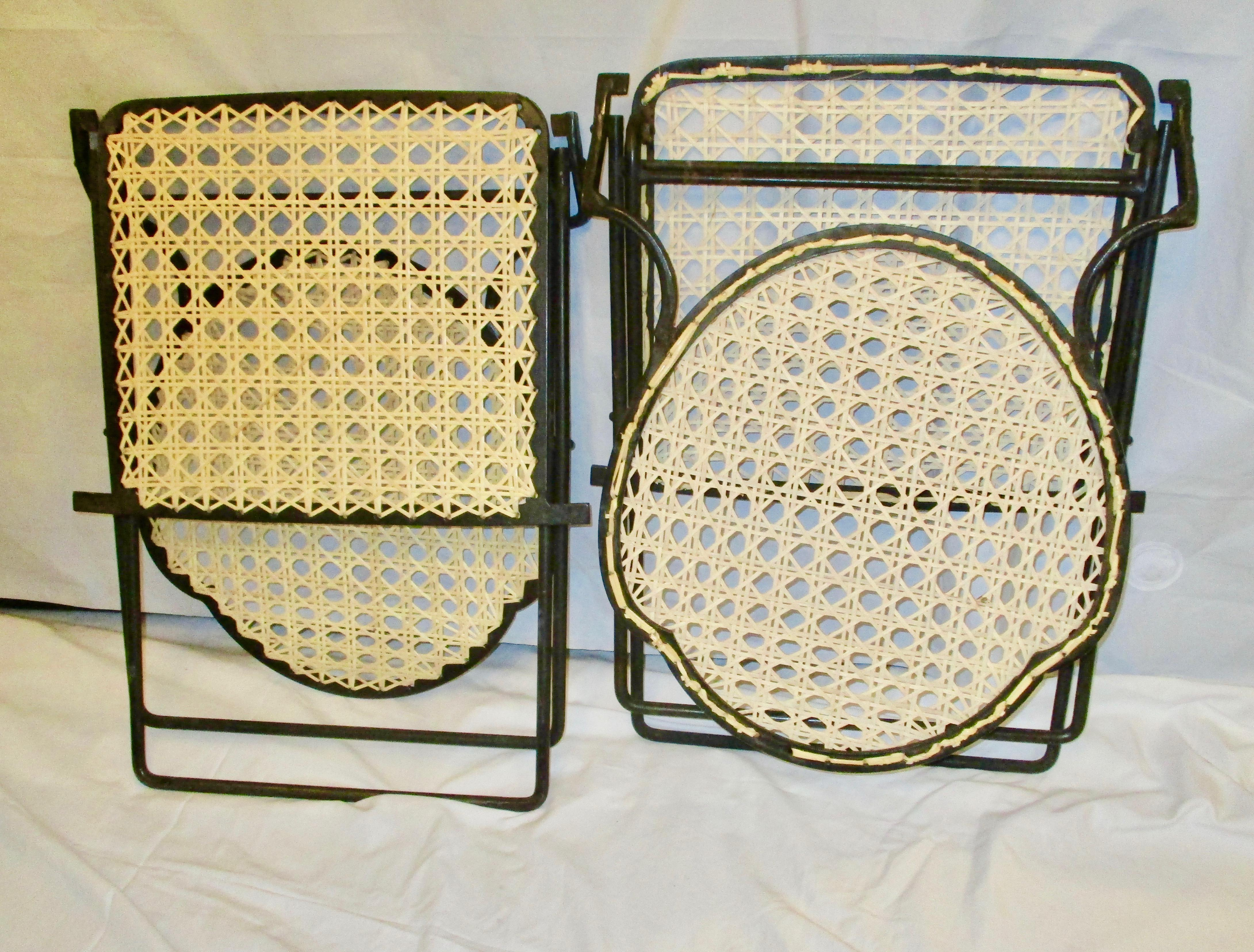 1900s Antique French Iron Cane Seat Patio Chairs   A Pair   Image 5 Of 8