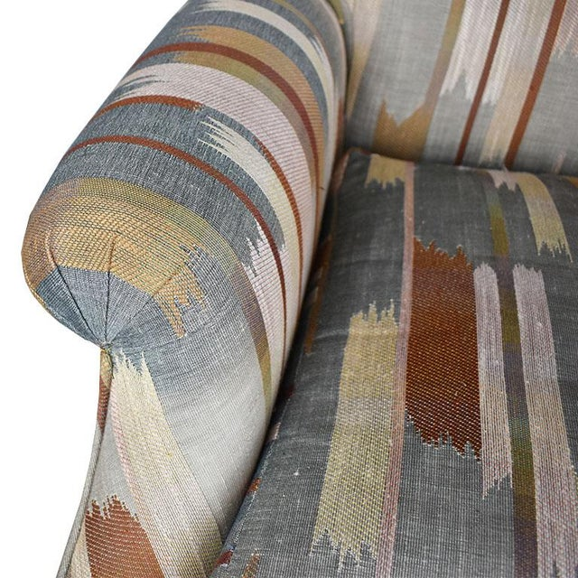 Metal Rolling Upholstered Southwest Ikat Armchair in Brown Cream and Blue by Baker Furniture Company For Sale - Image 7 of 13