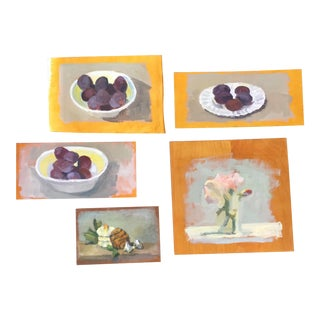 Vintage Fruit Still Life Paintings - Set of 5