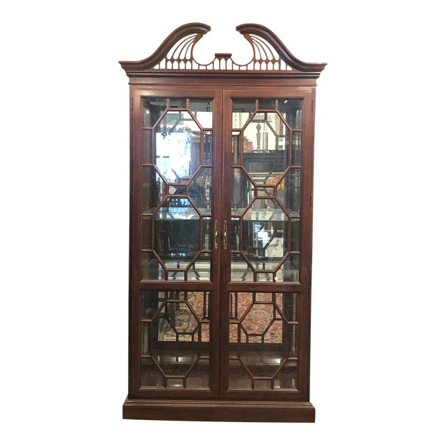 Traditional Mirror Back China Cabinet For Sale