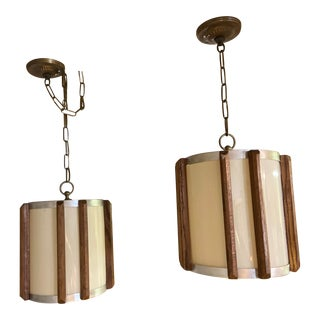 Mid-Century Modern Teak Slats and Metal Cylindrical Pendant Lamps - a Pair For Sale