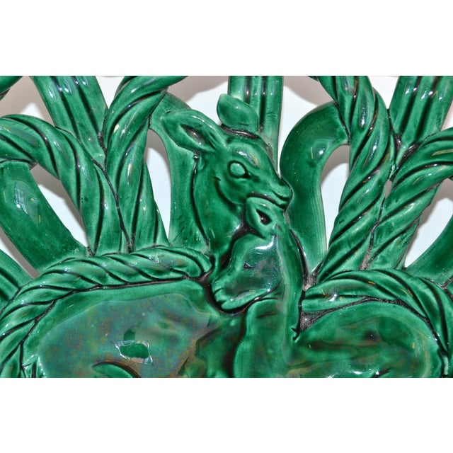 Vallauris France Glazed Woven Ceramic Basket Emerald Green Bambi 1955, Pottery For Sale In Miami - Image 6 of 13