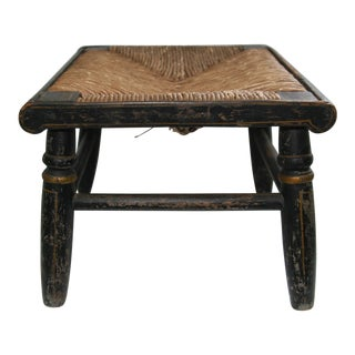 Late 19th Century Antique Americana Rushed Seat Stool For Sale