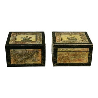 19th C. Folk Art Paint Decorated Boxes - a Pair For Sale