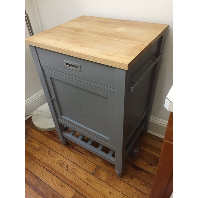 Contemporary Crate & Barrel Kitchen Island With Butcher Block For Sale - Image 3 of 10