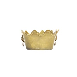 Vintage Mid Century Solid Brass Display Planter For Sale