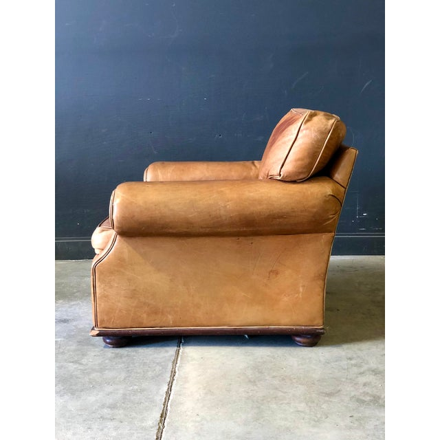 Mid-Century Modern Vintage Ralph Lauren Camel Leather Chair For Sale - Image 3 of 10