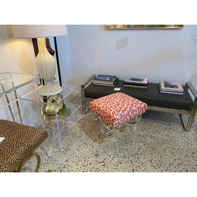 Mid-Century Modern Charles Hollis Jones Lucite Stool Bench With New Upholstery Fantasy Leopard Motif For Sale - Image 11 of 12