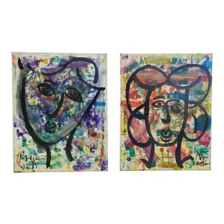 1983 Vintage Piter Keil Abstract Paintings - A Pair For Sale