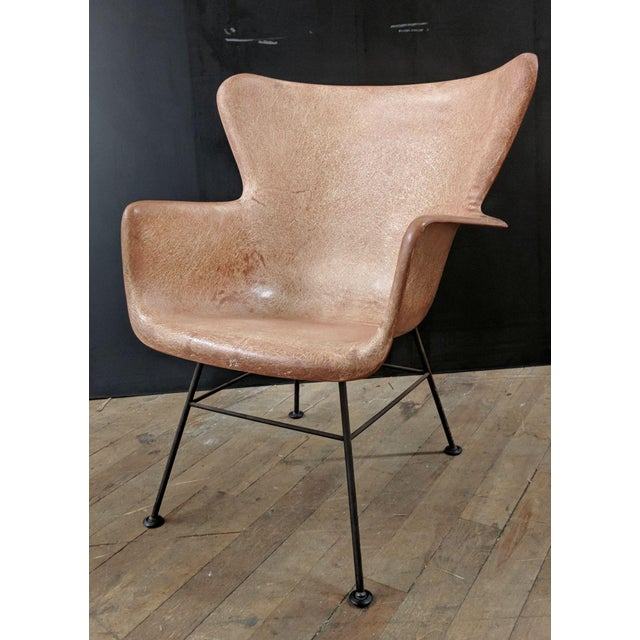 Lawrence Peabody for Selig Mid-Century Wingback Fiberglass Chair - Image 3 of 12