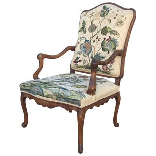 Mid 19th Century Antique Walnut Carved Continental Armchair For Sale