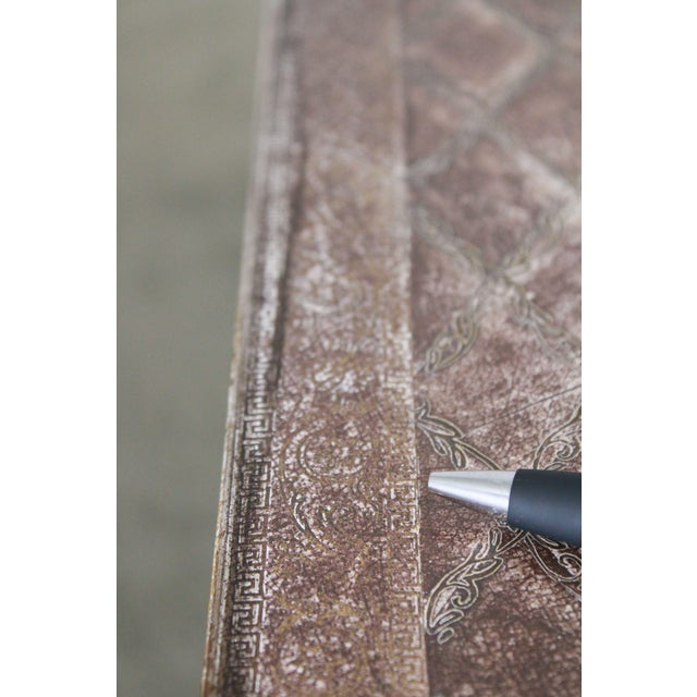 Maitland Smith Distressed Brown Tooled Leather Campaign Coffee Table with Drawers For Sale - Image 10 of 12